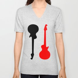 Black, Grey and Red Guitars Unisex V-Neck