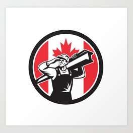 Canadian Construction Worker Canada Flag Icon Art Print