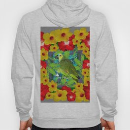 RED-YELLOW HIBISCUS & GREEN PARROT JUNGLE GRAY  ART n Hoody