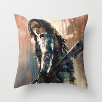 bucky Throw Pillows featuring Bucky by Wisesnail