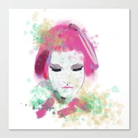 water colour Canvas Prints featuring water colour lady by rebeccalbe