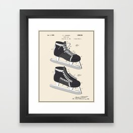 Hockey Skate Patent - Colour Framed Art Print