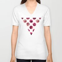polka V-neck T-shirts featuring Pink Pomegranate Polka Dots by micklyn