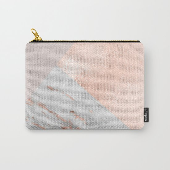 Blush pink layers of rose gold and marble Carry-All Pouch