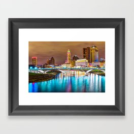 Buckeye Skyline - Columbus at Night on the Water Framed Art Print