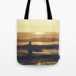 Sunset Surfer at Fistral Beach, Newquay, Cornwall Tote Bag