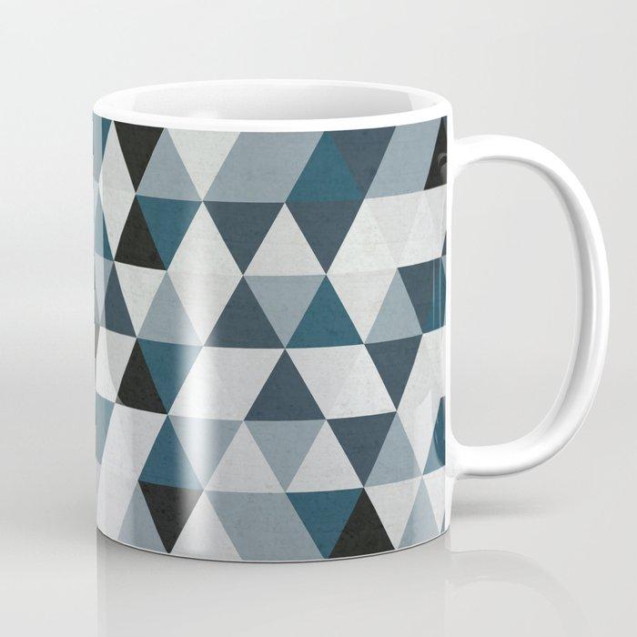 Sea Blue And Grey Gray Hipster Geometric Triangle Pattern 02 Coffee Mug By Pelaxy Society6