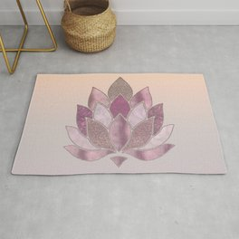 Elegant Glamorous Pink Rose Gold Lotus Flower Rug