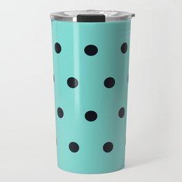 Small Black Dots on Aqua Travel Mug