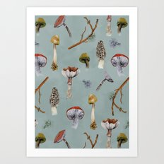 Mushroom Forest Party Art Print