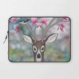 white tailed deer, black throated blue warblers, & magnolia blossoms Laptop Sleeve