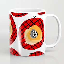 Irregular Red Circles with Black Cross Hatch Yellow Orange and Black Center. Coffee Mug