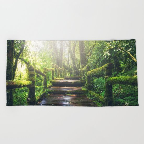 Green Jungle Forest Path Beach Towel