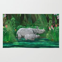 Rhinoceros mom and cub Rug