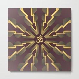 Om Fractal Purple & Yellow, Aum Kaleidoscope Metal Print