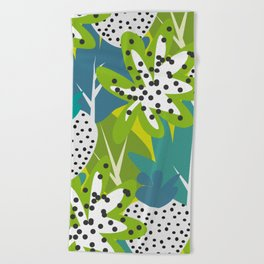 White strawberries and green leaves Beach Towel