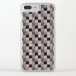 Rustic Charcoal Peach Black Patchwork Clear iPhone Case