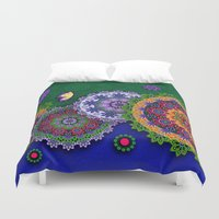india Duvet Covers featuring Blooming India by Robin Curtiss
