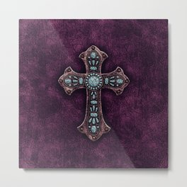 Purple and Turquoise Rustic Cross Metal Print