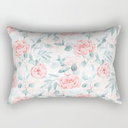 Rose Blush Watercolor Flower And Eucalyptus Rectangular Pillow