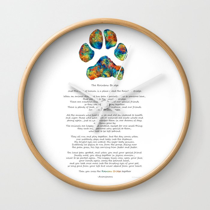 Rainbow Bridge Poem With Colorful Paw Print By Sharon Cummings Wall