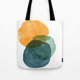 Watercolor Circles in Autumn Shades of Mustard and Teal Tote Bag