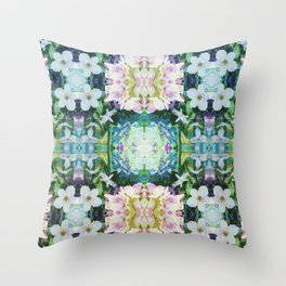 Blue Floral Kaleidoscope Throw Pillow