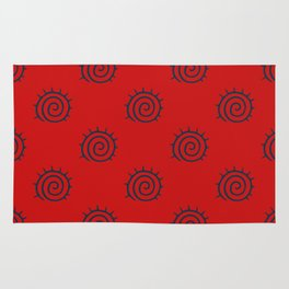 Red and Blue Spiral Pattern Rug