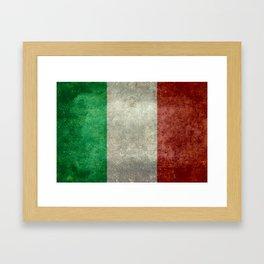 Italian flag, vintage retro style Framed Art Print