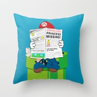 super mario Throw Pillows featuring Mario by Altay