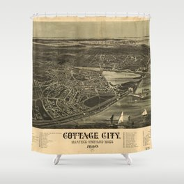 Aerial View of Cottage City (Oak Bluffs), Massachusetts (1890) Shower Curtain