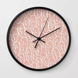 faces / pink Wall Clock