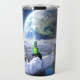 Astronaut on the Moon with beer Travel Mug
