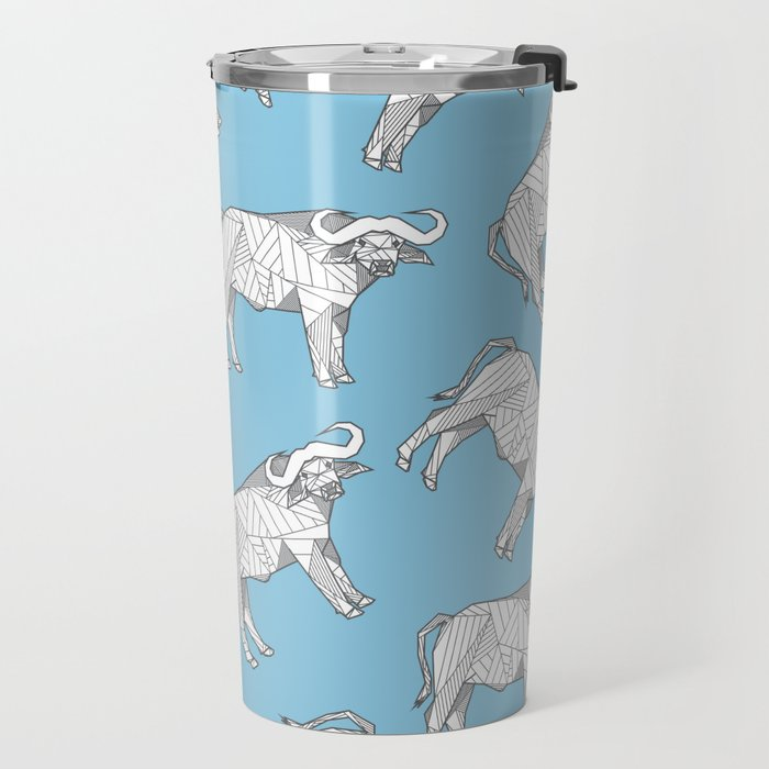 African Animals - Buffalo Blue Travel Mug