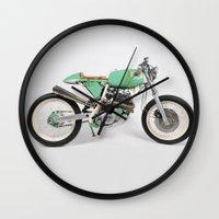 cafe racer Wall Clocks featuring Café Racer par Choppersteel by David Bascuñana