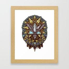 Trinity Merkabah Spirit Dove Mandala Framed Art Print