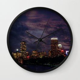 Boston at night Wall Clock