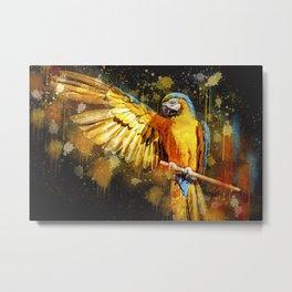 Ara Parrot Yellow Macaw Metal Print