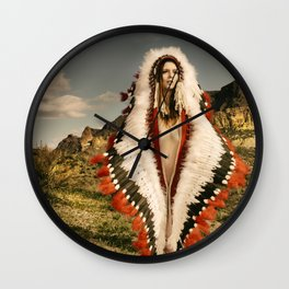 2714 Adorned Feathered Nude ~ SurXposed ~ Classy Girl in Indian Headdress Costume Wall Clock
