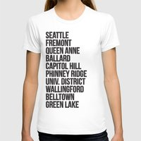cities T-shirts featuring SEATTLE CITIES by Party in the Mountains