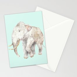 Woolly Mammoth Watercolor Mastodon Painting Stationery Cards