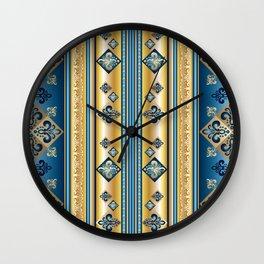 Blue and Gold Fleur de Lis Pattern Wall Clock