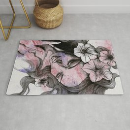 In The Year Of Our Lord (smiling flower lady portrait) Rug