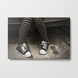 Striped Socks & Sneakers Metal Print