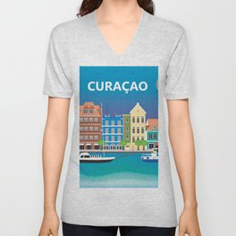 Curacao - Skyline Illustration by Loose Petals Unisex V-Neck