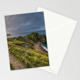 Durdle Door limestone arch Jurassic Coast evening sunset rocks coast ocean seascape West Lulworth Dorset Purbeck District England Stationery Cards