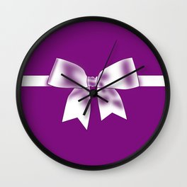 Purple Bow Wall Clock