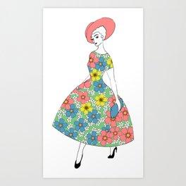 Parisienne - Summer dress with flowers Art Print