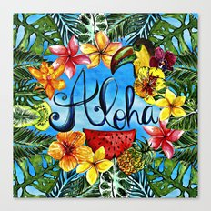 Aloha - Tropical Flower Food and Animal Summer Design on #Society6 Canvas Print