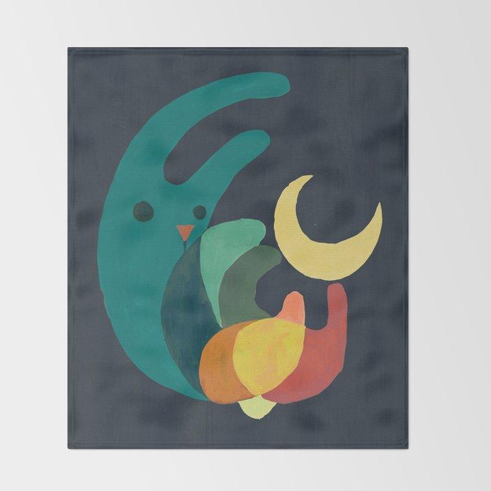 Rabbit and crescent moon Throw Blanket